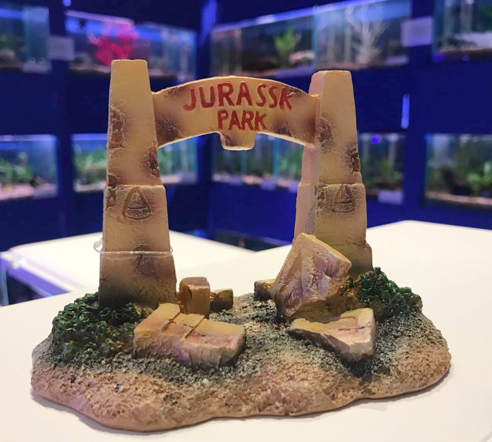 Jurassk Park Dinosaur Gates Aquarium Bridge Ornament